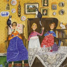 'The Crafty Ladies' By Artist Stephanie Lambourne. Blank Art Cards By Green Pebble. Pinned by www.LKnits.com