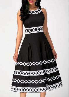 Sleeveless Black Dress on sale only US$33.98 now, Neck Printed Black Dress at Rosewe.com! free shipping worldwide, check it now