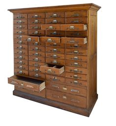 American Oak Multi-Drawer Card Catalog | From a unique collection of antique and modern cabinets at https://www.1stdibs.com/furniture/storage-case-pieces/cabinets/