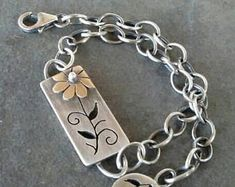 Rustic- OOAK-Bracelet- Sterling Silver- Brass- Handmade- Mixed Metal- Artisan- Flower- Bracelet.