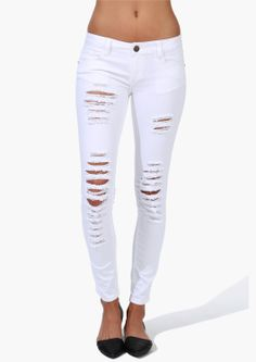 Flutter White Denim Jeans