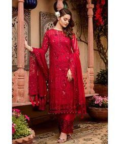 Pakistani Suit Ramzan Eid Collection Grandeur Ecstasy By Imrozia The Heartthrob Red 709 Pakistani Dress Design, Pakistani Suits, Pakistani Dresses, Eid Dresses, Woman Dresses, Punjabi Suits, Indian Dresses, Wedding Dresses, Beautiful Dress Designs