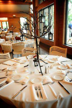 Tree with Lanterns Centerpiece :  wedding green ivory reception Centerpiece Trees