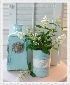 shabby glam crafts | Aqua Shabby Glam Painted Tin Can Upcycle Repurpose