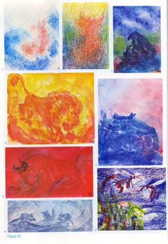Taf. 35: Tierkunde 01 mit Menschenkunde (4.-8. S.j.) 1. undefinierbar (Bwfarb.) 2. eine Gestalt mit Hörnern oder grossen Ohren (Bwfarb.) 3. Vogel mit Jungen (Adler?) in Dunkelbl. (Malfarb.) 4. löwenähnliches oder pferdähnliches Tier in Orange auf orang. Boden mit gelb. Hintergr. mit weis. Lichtfenstern (Malfarb.) 5. stierähnliches Tier in Angriffsst. in Rot auf rot. Boden mit rot. Hintergr. (Malfarb.) 6. stierähnlich. Tier in Bl. am bl. Boden ruhend, Him. in Rot-Bl. (Malfarb.) (...)