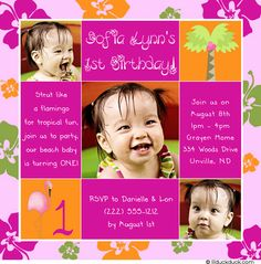 Strut like a flamingo for tropical fun. Join us to party--our beach baby is turning ONE! This beach flamingo 1st birthday invitation features 1 or 3 photos