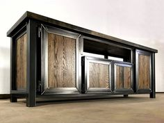 Modern Industrial Media Console, Console Table, TV Stand, Entertainment Center, TV console Modern In Industrial Tv Stand, Modern Industrial Furniture, Industrial Style, Console Modern, Industrial Lamps, Welded Furniture, Steel Furniture, Furniture Vanity, Farmhouse Furniture