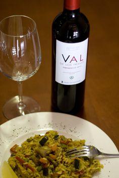 Arroz con Curry y Valdelosfrailes. Tempranilo Denominación de Origen Cigales. www.restauranteespadana.es