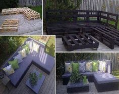What a fab idea!! No Instructions needed other than the pic. Pallets positioned as shown and painted. Go to the craft store and get foam squares and cover with your choice of fabric!