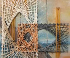 String Art Painting in Blue Orange and Yellow by andrearodgers, $250.00