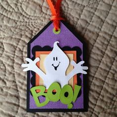 Halloween ghost tag premade paper piecing for scrapbook page border card aby