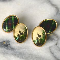 1930s Picture Cufflinks  Scottish Theme  Stag and Tartan - Oval Gold Tone Chain Fittings - Double Ended by MrWickstead, Vintage  Accessories  Cuff Links  art deco  1930s  cufflinks  gold  chain link  double ended  vintage  UK  mens fashion Scottish  Tartan  Picture  Celluloid Mr Wickstead Wicksteads