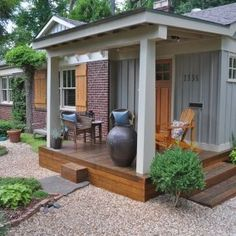 pea gravel patio decorating ideas garden design front yard decor ideas - All For Garden House Design, House With Porch, Country Porch, Patio Design, Porch Design, Small Front Porches Designs, Curb Appeal, Remodeling Mobile Homes, Building A Porch