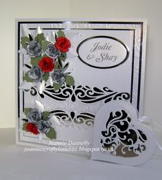 Another Wedding day Card using the Creative Expressions / Sue Wilson Gemini die Ursa this time with a Heart Tag from Spellbinders, Vines of Passion - other dies used Spellbinders Grand Squares, Bitty Blossoms and Foliage, Creative Expressions / Sue Wilson Complete Petal Leaves, Joy Crafts Ovals and Hearts and a Memory Box Leaf. Embossing Folder from Crafters Companion Rose Swirls.