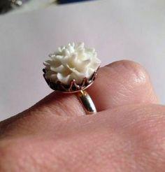 White Flower Ring Wedding Jewelry Adjustable Jewellery by cdjali, $10.00