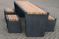 Contemporary picnic table by Grijsen Park & Straatdesign: Outdoor Cubic, Grijsen Parks, Construction Ideas, Picnic Tables, Cubic Grijsen, Contemporary Parks, Contemporary Picnics, Outdoor Tables, Picnics Tables