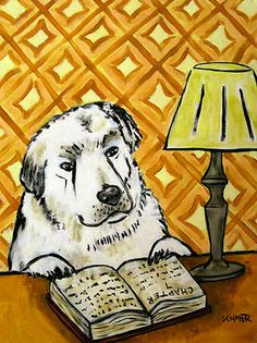 GREAT PYRENEES READING SIGNED dog art print poster 8x10