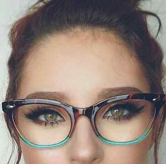 "Cat Eye Vintage Retro ""Ombre""  Women Eyeglasses Blue Green Bottom Tortoise Top"