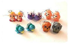 Squinkie handmade Ooak earrings fun toy earrings dangle and drop dog animals pets  earrings miniature pets and other animals kawaii