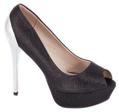 Pantofi negri cu platforma 8825-2N. Reducere 42%. Pret: 34.99 lei.