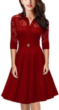 Women's Vintage 1950s Style 3/4 Sleeve Red Lace A-line Dress Red M