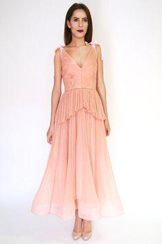 Salmon/Blush Tea-length silk wedding gown pleated dress silk boho style with bows/ bohemian wedding dress/ beach wedding dress/ wedding gown