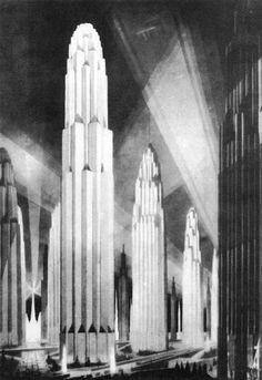 from The Metropolis of Tomorrow by Hugh Ferriss via Retro Future: Glorious Urbanism Arte Art Deco, Dark Side, World Of Tomorrow, City Architecture, Architecture Sketches, Monumental Architecture, Vintage Architecture, Arte Popular, Future City