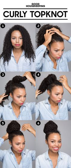 How to style your curly hair into an everyday topknot.