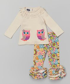 Love this Ivory & Pink Owl Tunic & Leggings - Infant & Toddler by Mud Pie on #zulily! #zulilyfinds