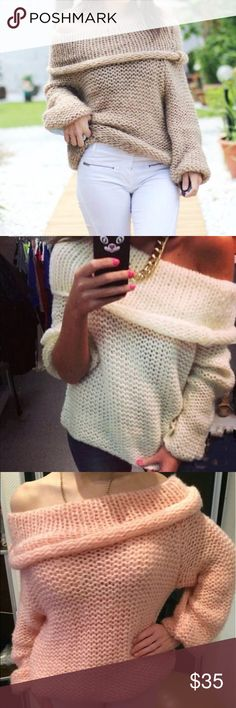🆕Sexy Off the Shoulder Sweater🆕 Brand new with tags. Casual pullover sweater you can wear off the shoulder. Only 3 available in light khaki color as shown in picture. Size Medium in soft knit material. ❌Firm on Price❌ Sweaters
