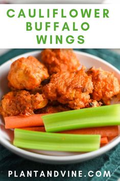 Easy and healthy vegan cauliflower buffalo wings recipe. Perfect for the Super Bowl or whenever you're hungry for a vegan snack, these vegan buffalo wings are awesome. Pair with a glass of wine to really dress them up. Check out Plant & Vine for more vega Healthy Superbowl Snacks, Vegan Snacks, Vegan Meals, Quick Snacks, Vegan Wings, Cauliflower Buffalo Wings, Wing Recipes, Vegan Recipes Easy, Snack Recipes