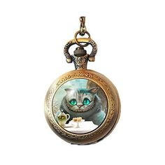 Joyplancraft Cheshire Cat Dome Pocket Watch Necklace Alice in... ($5.99) ❤ liked on Polyvore featuring jewelry, pocket watch, cat jewelry and pocket watches