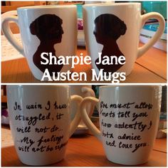 Silhouette and Pride and Prejudice Jane Austen Mugs. Done with a sharpie.