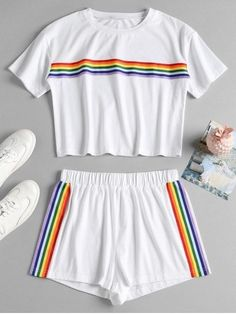 Striped Patched Shorts Set - White S Cute Lazy Outfits, Kids Outfits Girls, Sporty Outfits, Teenage Outfits, Stylish Outfits, Cute Pajama Sets, Cute Pajamas, Pajama Outfits, Crop Top Outfits