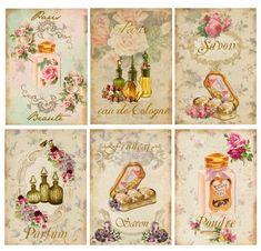 ~Vintage Shabby French Beauty Labels Perfume Waterlside Decals~ BA204