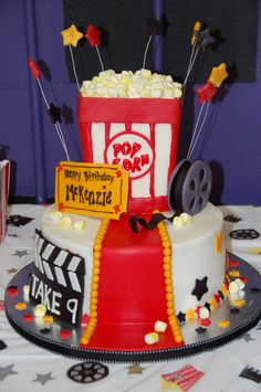 Made this for a 9 year old girls birthday party, which was held at the movies.  The popcorn container is made of RKT and c