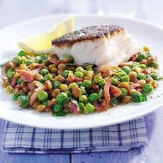 Braised Peas With Bacon, Lentils & Cod Recipe