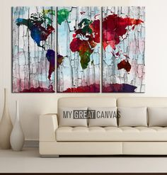 Canvas Print WORLD MAP Watercolor Art Print Work - Watercolor World Map 3 Piece Canvas Art Print - Ready to Hang - Red Colour World Map