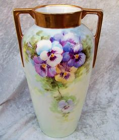 """Beautiful Vintage H & Co. Selb Bavaria 1900's Hand Painted """"Purple, White, & Yellow Pansy"""" 9-3/4"""" Vase"""