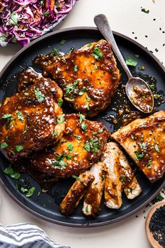 Hoisin Glazed Pork Chops: These addictingly sweet and umami-laden Hoisin glazed pork chops come together in just a few simple steps and are the perfect way to get out of that weeknight dinner rut. food from recipes Pork Rib Recipes, New Recipes, Dinner Recipes, Cooking Recipes, Healthy Recipes, Korean Recipes, Dinner Ideas, Cooking Pork, Roast Recipes