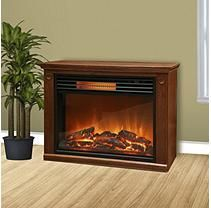 Rolling Mantle Infrared Heater/Fireplace with Flame Effect