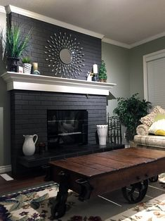 32 Awesome Living Room Design Ideas With Fireplace &; 32 Awesome Living Room Design Ideas With Fireplace &; Phoebe Collins living room designs 32 Awesome Living Room Design […] room with fireplace brick Painted Brick Fireplaces, Paint Fireplace, Brick Fireplace Makeover, Black Fireplace, Home Fireplace, Modern Fireplace, Living Room With Fireplace, Fireplace Design, Fireplace Ideas