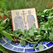 "Basil means ""the flower of royalty"" and under it the true cross of Christ was found by Saint Helen.  The basil fills our senses and reminds us of the story of Christ's crucifixion and Saint Helen seeking the cross."
