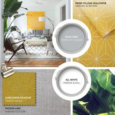 Monday Moodboard - For a boho twist on Scandi style add a dose of Mustard to a neutral palette. Geometric patterns such as a Berber rug and this gorgeous Graham & Brown wallpaper add interest... #theloungeco #moodboard #interiormoodboard #paintswatches #wallpaper #interiordesign #lounge #loungedecor #livingroomdecor #scandi #greyandyellow #interiorinspiration #boho #californiastyle