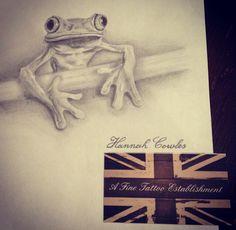 Treefrog drawing by Hannah Cowles #frog #drawing #tattoo #idea #sketch #treefrog #cute