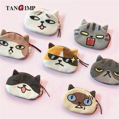 TANGIMP Meow 3D Borse Portafogli Carino Cool Cat Funny Face Coin ragazze Donne Animali Faccia Della Moneta Della Peluche Bambini Della Chiusura Lampo Del Sacchetto Key Holder