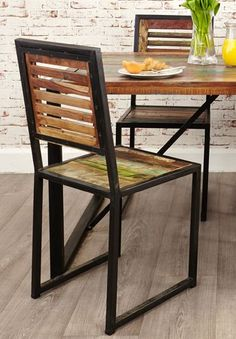 Wood and Steel Dining Chair - Rustic - Industrial | Pinterest ...