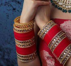 Image may contain: one or more people Indian Bridal Jewelry Sets, Bridal Bangles, Indian Bridal Outfits, Bridal Accessories, Jewelry Accessories, Chuda Bangles, Wedding Chura, Bridal Chuda, Antique Jewellery Designs