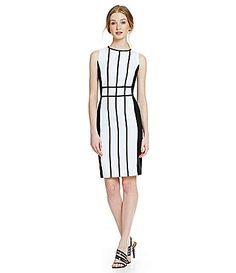Calvin Klein Colorblock Pipping Sheath Dress #Dillards