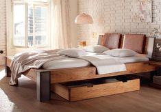 Hasena Oak-Line Wild Massivholzbett Bormio Cobo/Sion cm coffee Hasena Oak-Line Wild Massivho Contemporary Bedroom Furniture, Bedroom Furniture Design, Modern Bedroom, Modern Beds, Solid Oak Beds, Solid Wood, Hamptons Bedroom, Luxury Bedroom Design, Single Bedroom